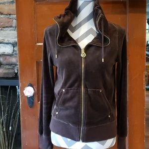 Micheal Kors Brown Crushed Velvet Zip Up Small